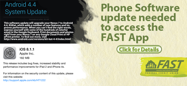 Starting June 25, the FAST App will only work if the phone's software is updated. For Android users this is the Android 4.4 KitKat system update. For iPhone users this is the Apple iOS 8 and above.