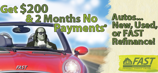 Get $200 & 2 months no payments. Autos...New, Used, or FAST Refinance!