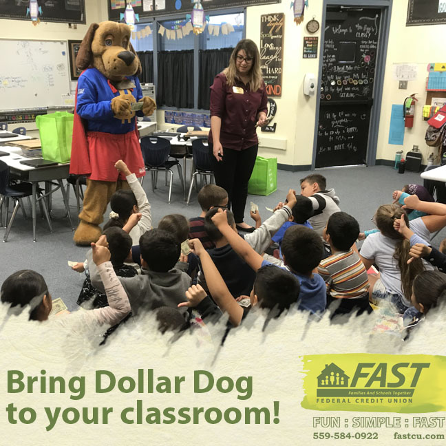 Bring Dollar Dog to your classroom to teach kids about money, click here to contact us.