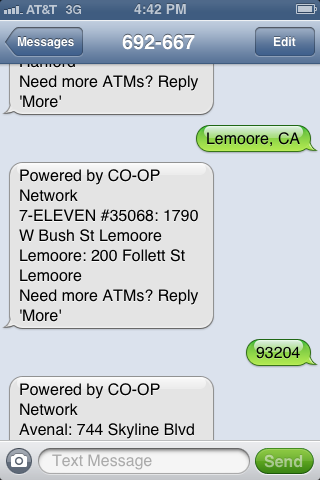 "Text a street address or ZIP Code or ""City State"" to 692667 (my CO-OP) to find the closest locations."
