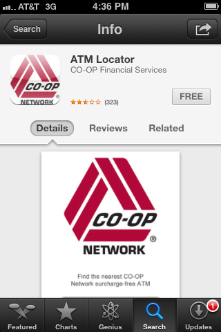 Download the CO-OP ATM locator app from the Apple Store