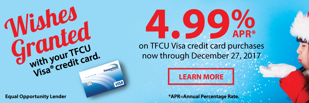 Wishes Granted when you start shopping with your TFCU visa credit card.
