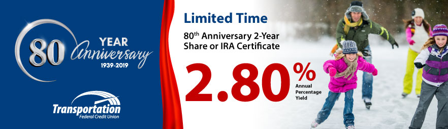 Limited Time 24-Month Anniversary Share or IRA Certificate with a 2.80% APY