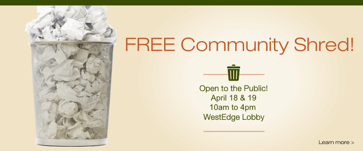 2019 Fall Community Shred.  FREE and Open to the Public!
