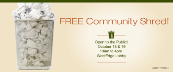 2018 Fall Community Shred.  FREE and Open to the Public!